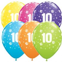 10th Birthday Stars - 11 Inch Balloons 6pcs